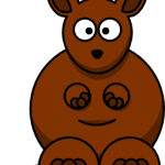 cute, adorable cartoon kangaroo with big eyes and pouch