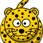 cute, adorable cartoon leopard with big eyes and spots