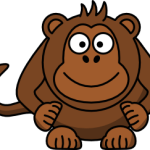 cute, adorable cartoon monkey with big eyes, banana