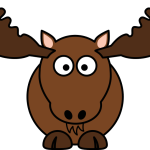 cute, smiling cartoon moose reindeer with big eyes and antlers