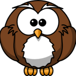 cute, adorable cartoon owl with big eyes