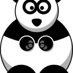 cute, adorable cartoon panda with big eyes