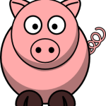 cute, adorable cartoon pig with big eyes and tail