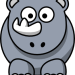 cute, adorable cartoon rhino with big eyes and horn