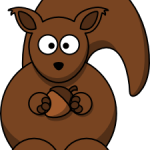 cute, adorable cartoon squirrel with acorn and big eyes