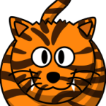 cute, adorable cartoon tiger with stripes and big eyes