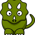 cute, adorable cartoon triceratops with big eyes