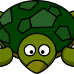 cute, smiling cartoon turtle with big eyes