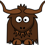 cute, adorable cartoon yak with big eyes and smiling face