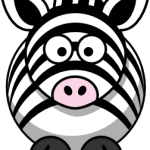cute, adorable cartoon zebra with big eyes and stripes