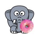 Elephant with donut icon png