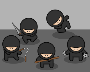 Studiofibonacci free icon set of ninjas with weapons