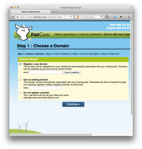 Screenshot image photo of FatCow, a web host and domain registrar
