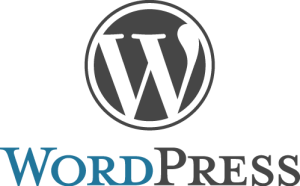 Gray and blue WordPress logo in PNG