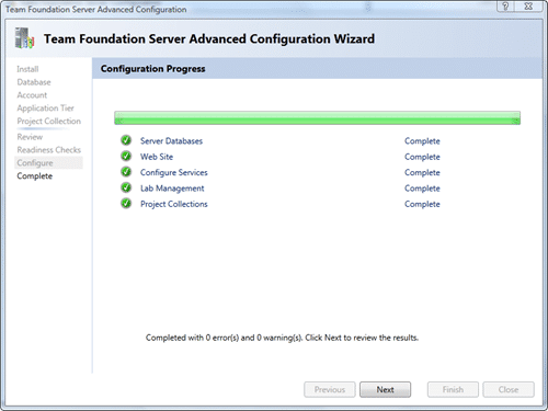 Team Foundation Server Configuration - Advanced - Configure after 60 seconds