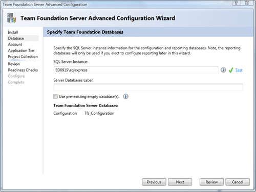 Team Foundation Server Configuration - Advanced - Database