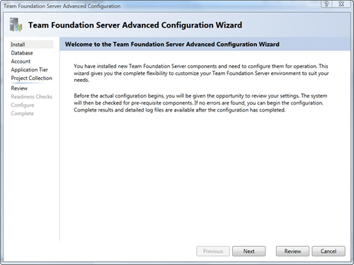 Team Foundation Server Configuration - Advanced - Install