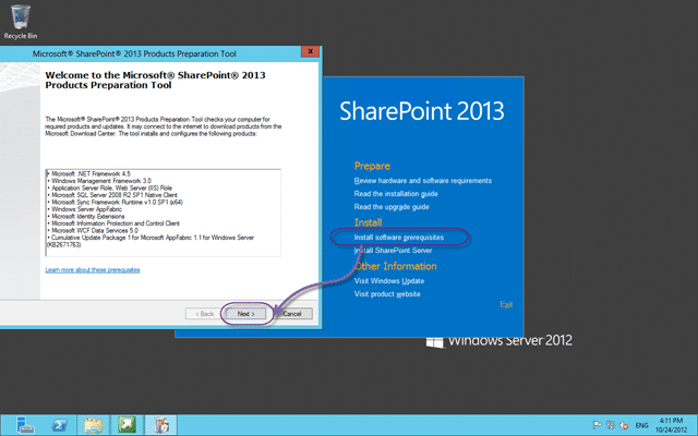 Install the prerequisite for SharePoint 2013