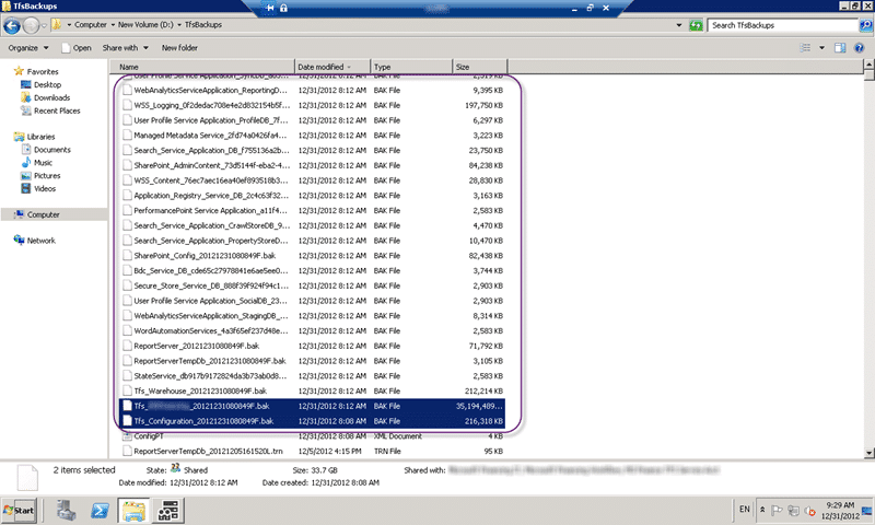 Verify backups before installing Team Foundation Server 2012 Update 1