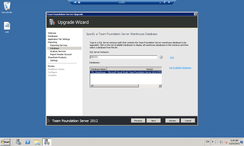 Select the Warehouse to upgrade to Team Foundation Server 2012 Update 1