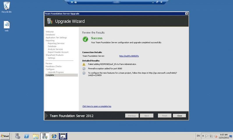 Successful upgrade to Team Foundation Server 2012 Update 1