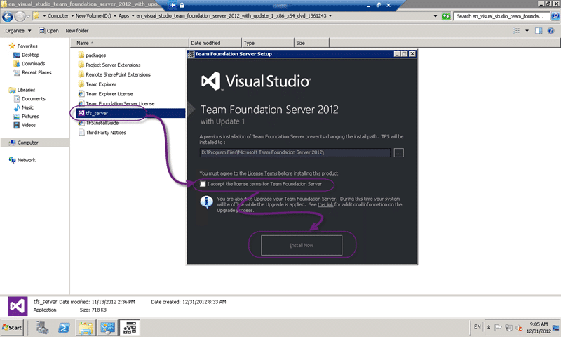 Upgrade components to Team Foundation Server 2012 Update 1