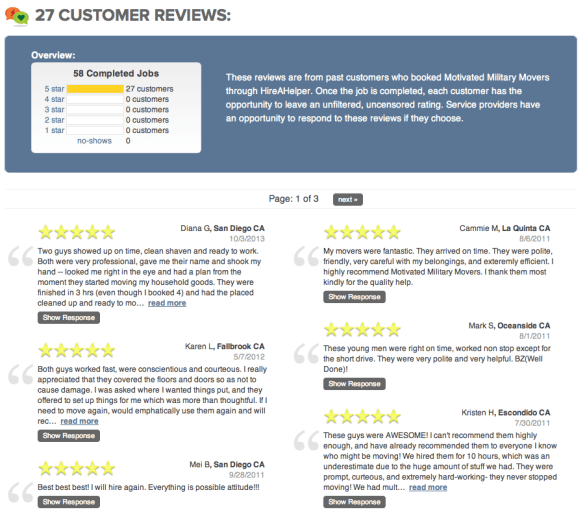 Screenshot of Motivated Military Movers Reviews