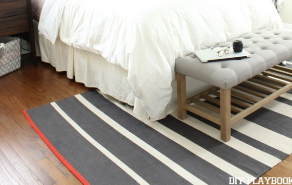 Throw Rug to Cover Bad Floors in a Rental