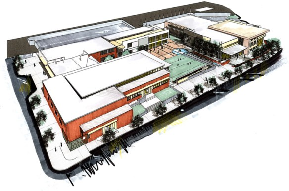 """""""View from Corner of Trinity Ave and Electric Ave"""". Credit: City of Decatur Beacon School Complex Master Plan."""