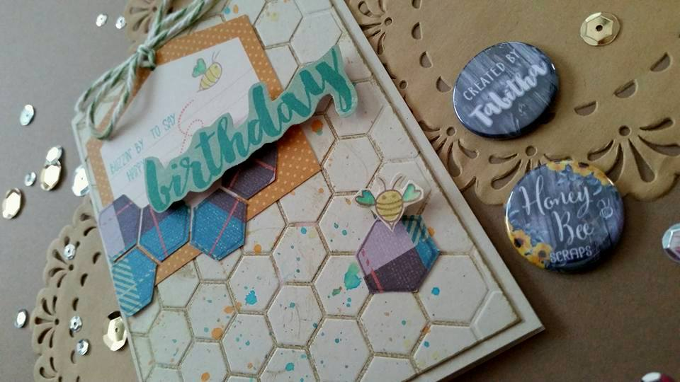 Masculine Hexagon & Bee Birthday Card