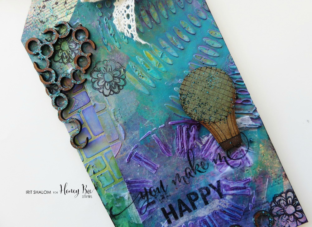 You make me happy Mixed Media tag with Irit