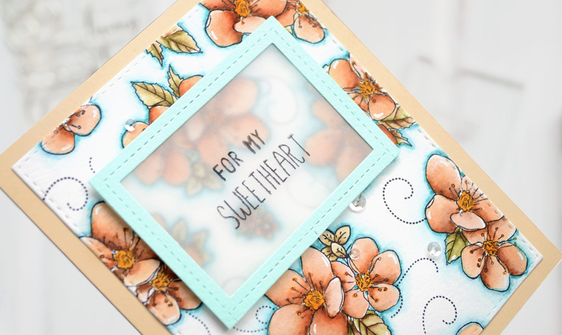 Video. Card with floral background