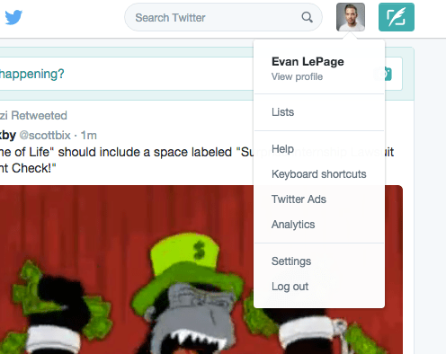 How to access twitter analytics using Evan LePage profile