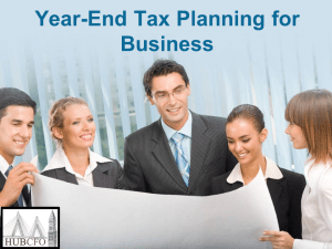 Year-End Tax Planning for Business