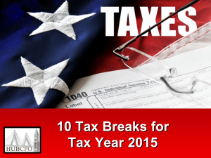 10 Tax Breaks for Tax Year 2015