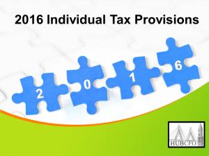 2016 Individual Tax Provisions