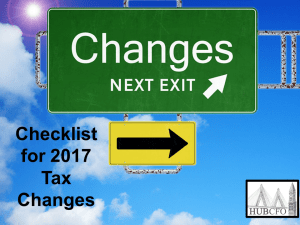Checklist for 2017 Tax Changes