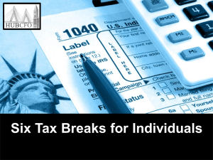 Six Tax Breaks for Individuals