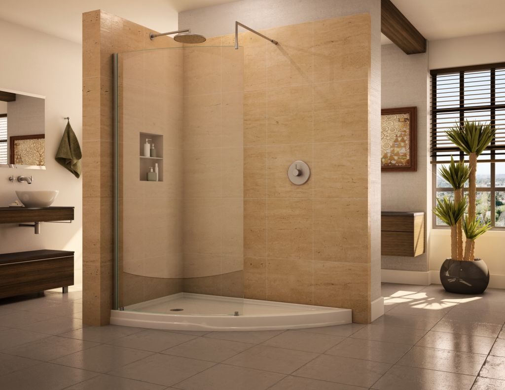 O Curved Glass Shower Enclosure With An Acrylic Slice Shaped Base ...