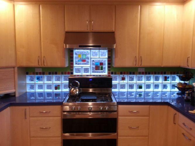 project spotlight art glass tile blocks kitchen backsplash add light color privacy style kitchen backsplash glass tiles Art glass tile blocks used in a kitchen backsplash