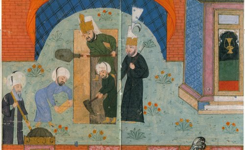 Mimar Sinan (on the left) at a 16th century miniature painting