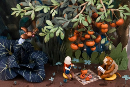 Sean Chao, Persimmon Picnic, 2015, bass wood, polymer clay, acrylic, and gouache paint on wood panel. Photo courtesy of the artist.