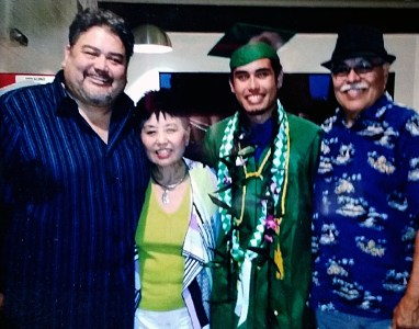 Three generations of the Tenorio family: father Phil, grandmother Sue, grandson Kane, and grandfather Alex. All photos courtesy of Sue Sato-Tenorio.