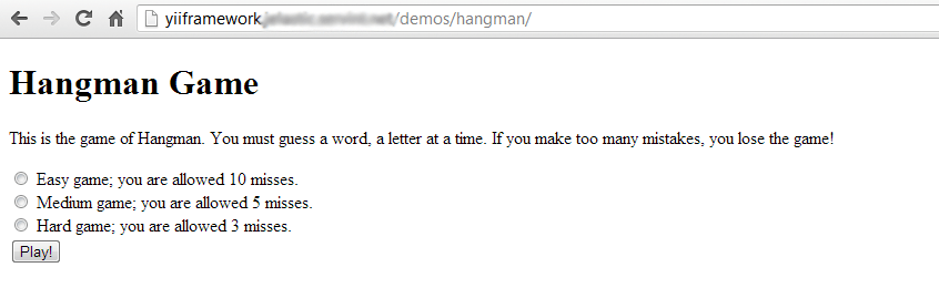 yii framework hangman
