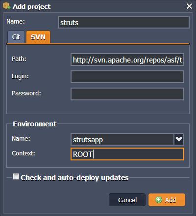Add Struts Project
