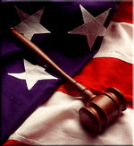 Judge's Gavel on American Flag