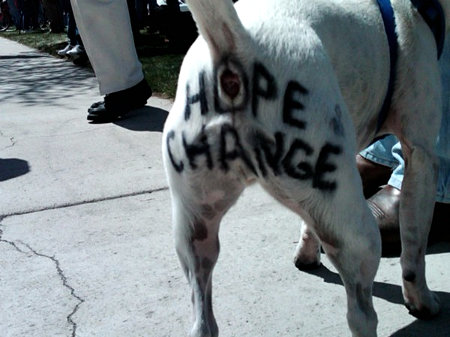 This dog knows all about Hope and Change