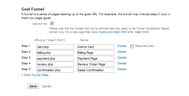 google analytics 5 goal funnel set up