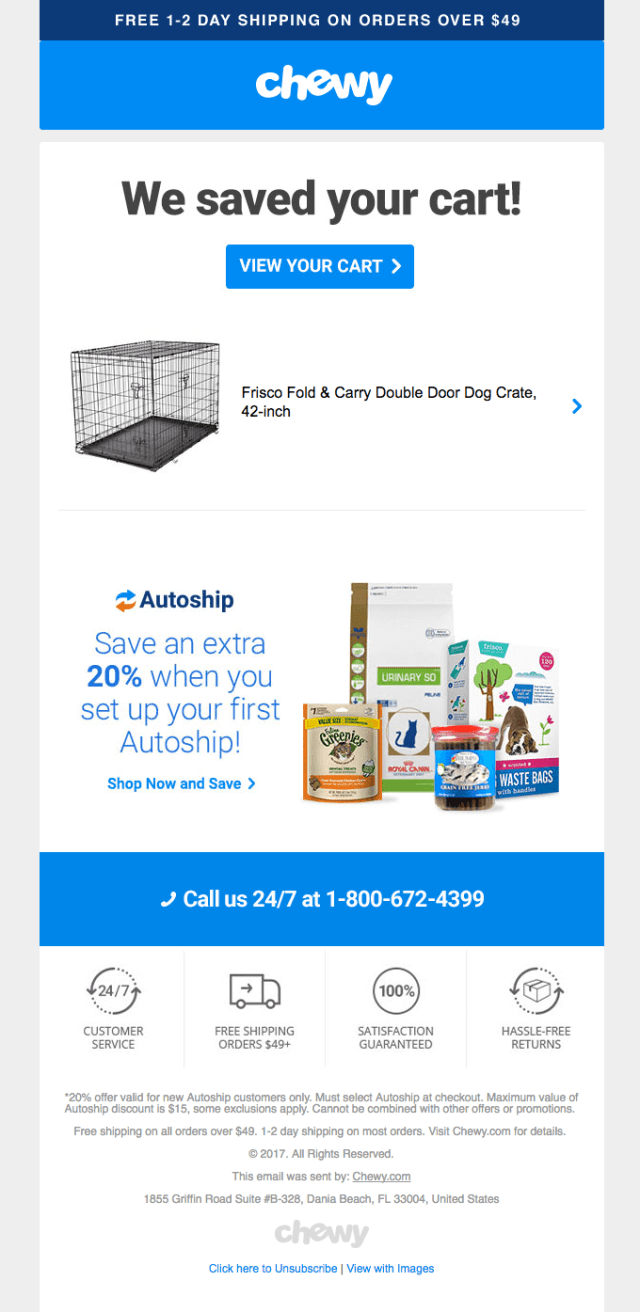 chewy saved your cart email