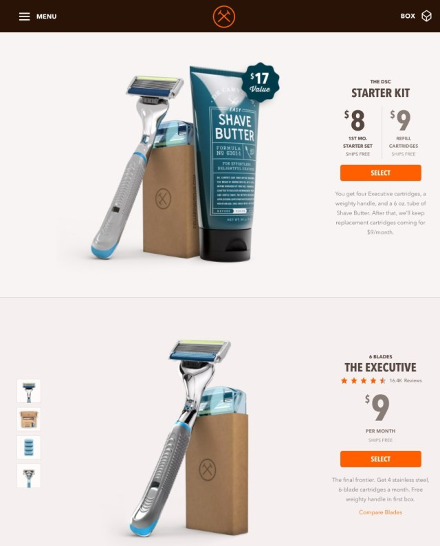 dollar shave club product sizing